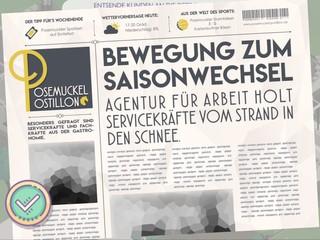 Der Screenshot aus dem Spiel 'Amtliche Helden' zeigt die fiktive Zeitung 'Posemuckel Postillon'