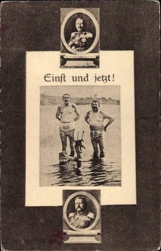 Eine Postkarte von 1919, die Reichspräsident Friedrich Ebert und den Reichswehrminister Gustav Noske am Strand zeigt.
