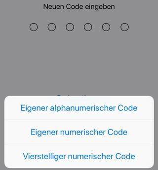 iOS-Screenshot: neuen PIN-Code wählen