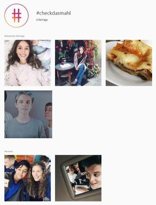 Screenshot der Kampagne #checkdasmahl auf Instagram