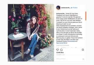 Die Influencerin Barbara Sophie bewirbt eine Aktion des Ministeriums für Ernährung und Landwirtschaft. Allerdings wird das erst durch den Hashtag #sponsored ganz am Ende eindeutig sichtbar.