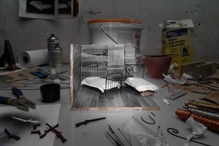 Das Schlafzimmer in der Hütte von Floyd Burroughs