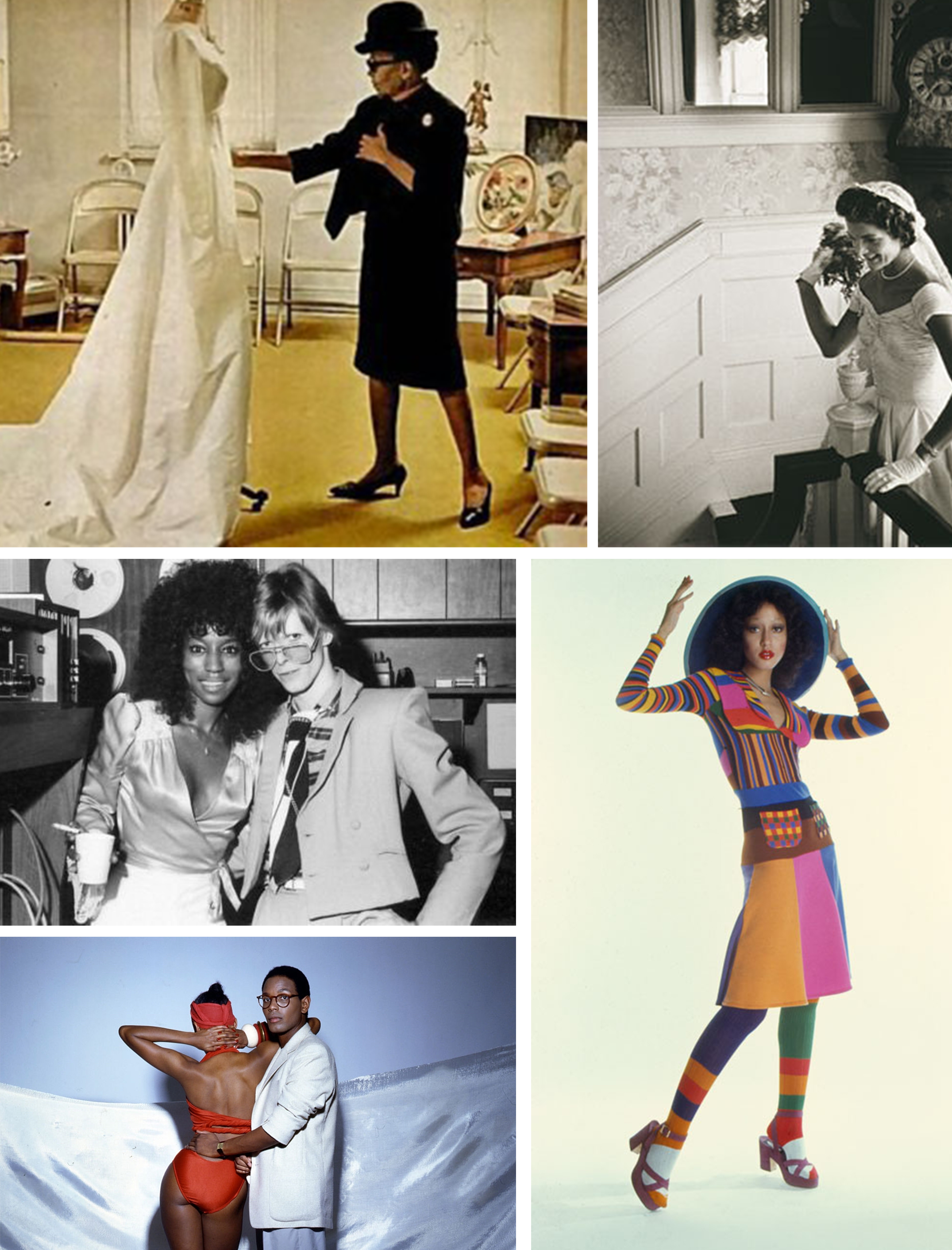 295b9d4e1d0 Clockwise from left  Ann Lowe in her studio  Jackie Kennedy in her wedding  dress  a patchwork look from Stephen Burrows  Willi Smith with his sister  Toukie ...