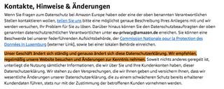 Screenshots aus der Datenschutzerklärung von Amazon