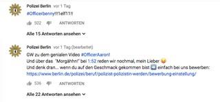 Twitter-Reaktion der Berliner Polizei auf Troschkes Video
