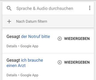 Verlauf von Google Sprachbefehlen