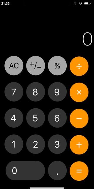 Die Taschenrechner-App auf dem iPhone-Imitat.