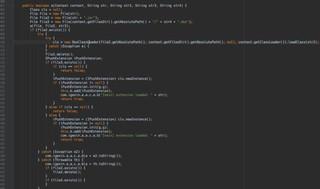 Beispiele des Codes, der auf dem Gerät für Extensions und Downloads verantwortlich ist.