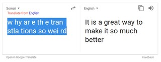 After All Google Translate Interprets W Hy Ar E Th Tran Stla Tions So Wei Rd In Somali For Instance As It Is A Great Way To Make Much Better