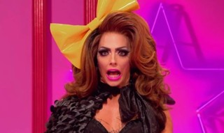 Alyssa Edwards with yello bow in hair on Ru Paul's Drag Race