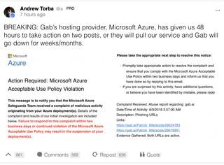 Der Gründer von Gab postete Microsofts Verwarnung auf Twitter