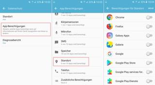 Android-Screenshots für Datenschutzeinstellungen zur Standort-Bestimmung