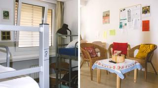 Hochbetten im Schlafzimmer und eine einfache Einrichtung im gemeinsamen Wohnzimmer