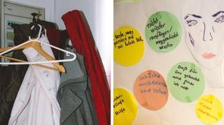 Auf einer Pinnwand hinterlassen Frauen ihre Botschaft an die Notunterkunft