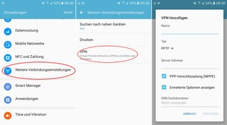 Screenshots der VPN-Einstellungen von Android