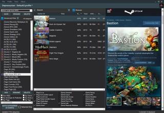 Screenshot zeigt eine Spiele-Bibliothek von Steam, die mit dem Tool Depressurizer neu geordnet wurde