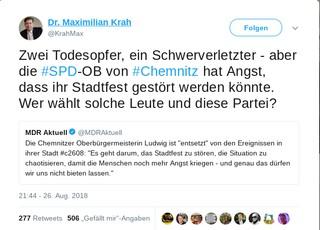 Der stellvertretende Landesvorsitzende der AfD Sachsen verbreitet eine Falschmeldung zu den Geschehnissen in Chemnitz auf Twitter.
