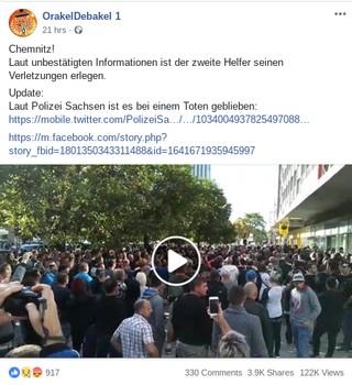 Mit diesem Facebook-Post nahm die falsche Geschichte vom zweiten Todesfall am Rande des Chemnitzer Stadtfestes wohl ihren Anfang.