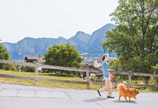 Ein Frau führt ihren Hund Gassi, im Hintergrund erheben sich Berge