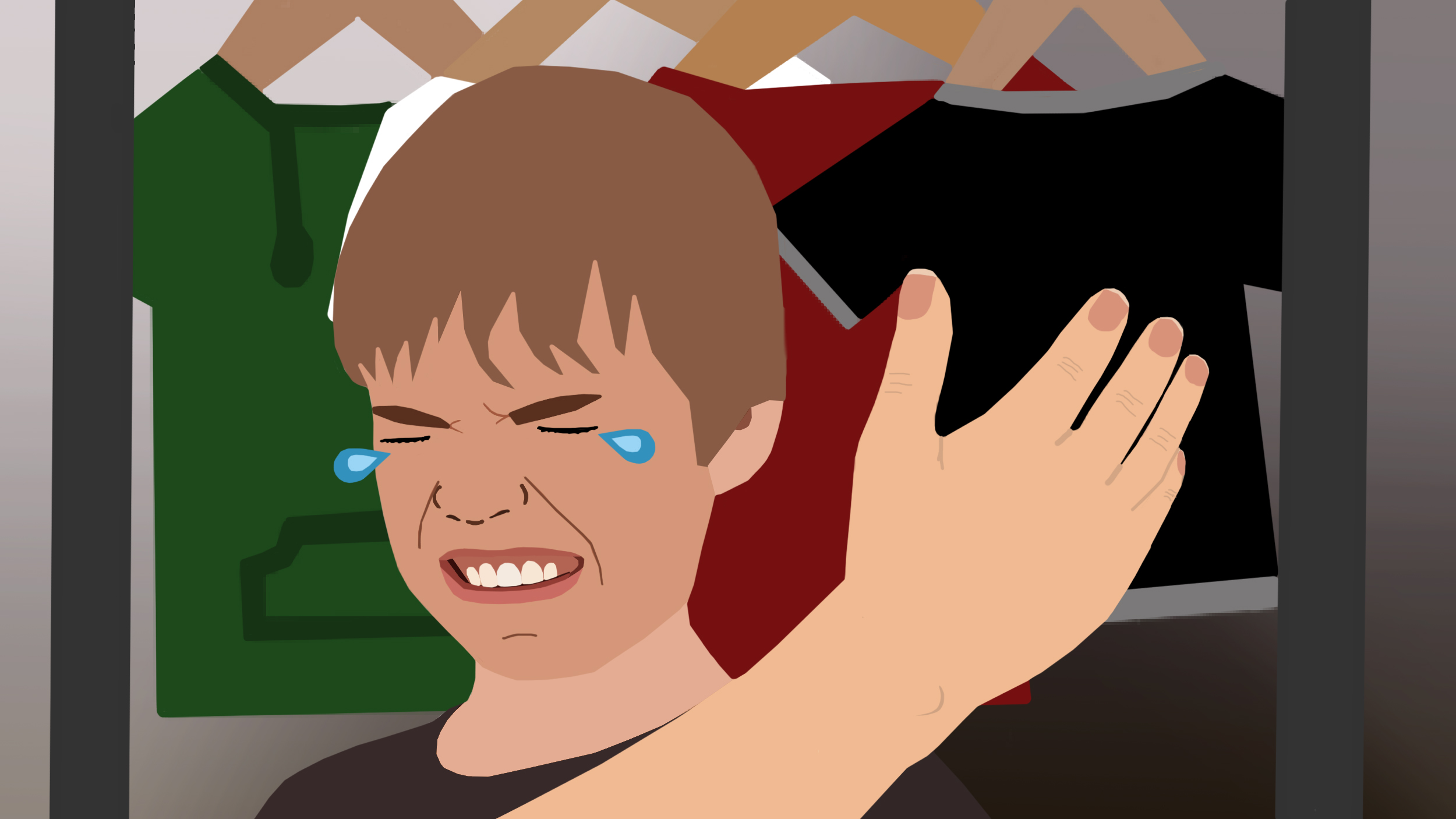 Ein Kind weint, eine Hand holt zur Backpfeife aus
