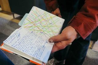 Eine Hand hält ein kleines Buch mit kariertem Papier hoch, auf der linken Seite ist ein Tagebucheintrag notiert, auf der rechten Seite eine abstrakte Zeichnung bunter Linien