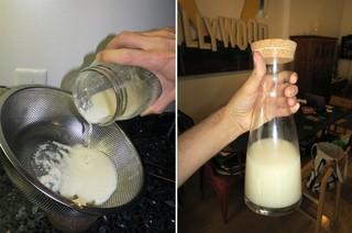 Die weiße Pampe wird aus dem Glas in ein Sieb gegossen, weißer Brei bleibt zurück