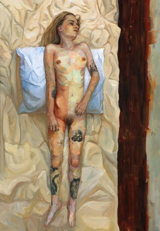 naakte vrouw op bed met endometriose, dat zorgt voor veel pijn tijdens de menstruatie. Schilderij door Ellie Kammer