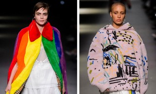Cara Delevingne in rainbow flag on Burberry catwalk