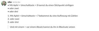 Der Screenshot zeigt Aufzählungen in Slack.