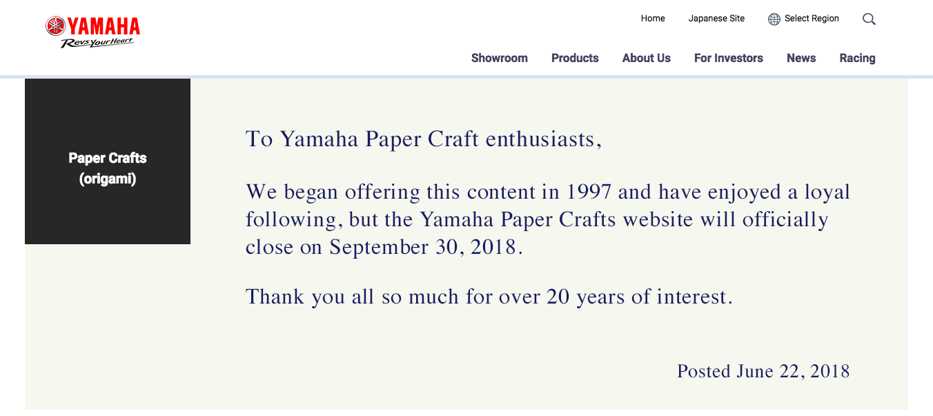 Archivists Scramble To Preserve Yamaha S Paper Craft Website Before