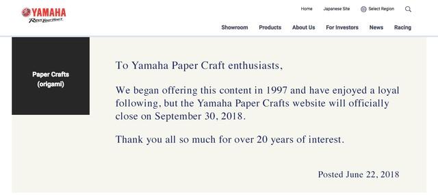 Archivists Scramble to Preserve Yamaha's Paper Craft Website