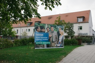 Ein Wahlplakat mit Markus Söder, CSU, in Ingolstadt