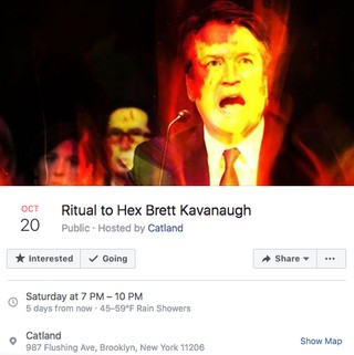 Ritual to Hex Brett Kavanaugh Facebook event, hosted at Brooklyn's Catland.
