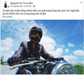 Truc Nhu's Facebook post, where she is dressed in a leather jacket and a helmet, and is riding a motorcycle. The caption is translated by executive producer Anh-Thu Nguyen: