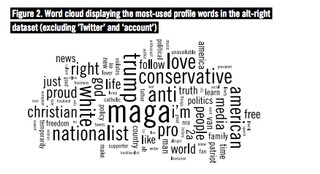 Word cloud showing the most commonly used words in alt-right profile accounts—such as