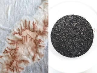 Links: close-up van de kaumerakimono van Nienke Hoogvliet. Rechts: kaumerakorrels.