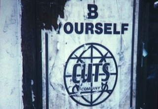 poster outside cult London salon Cuts in the 1980s