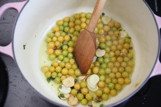 sauteeing husk cherries with garlic