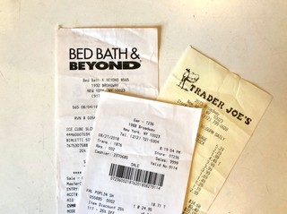 Receipts from Bed Bath & Beyond, the Gap and Trader Joe's.