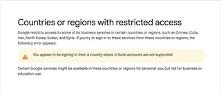 Google Suite Serbia ban