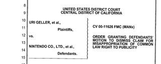 Gerichtsakten des Rechtsstreits zwischen Geller und Nintendo