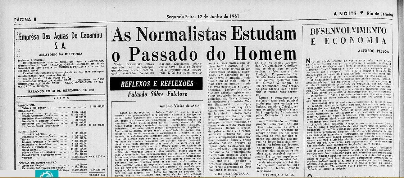 """Capa do jornal """"A Noite"""" do Rio de Janeiro. Edição 1572 do ano de 1961. Imagem: Printscreen."""