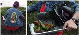 Claudette Zepeda-Wilkins with Virgin Mary sequined denim jacket, vegetables
