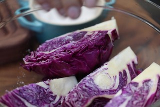 Salted red cabbage wedges