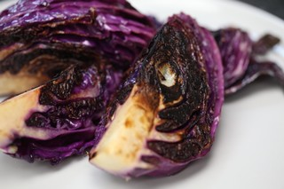 Grilled red cabbage wedges