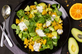Chickpea and avocado salad stock image