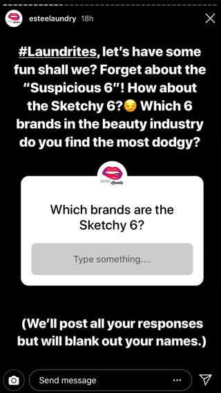 Estee Laundry Sketchy 6 call out on Instagram Stories