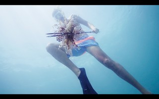 Ryan Chadwick spears a lionfish off the shores of Key Largo/VNT