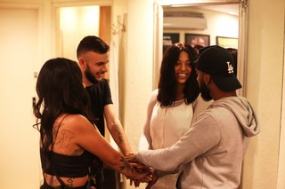 Singer Mahalia and friends backstage in London in 2018