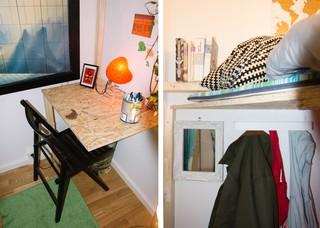 Eine Collage zweier Fotos des winzigen, winzigen Zimmers.